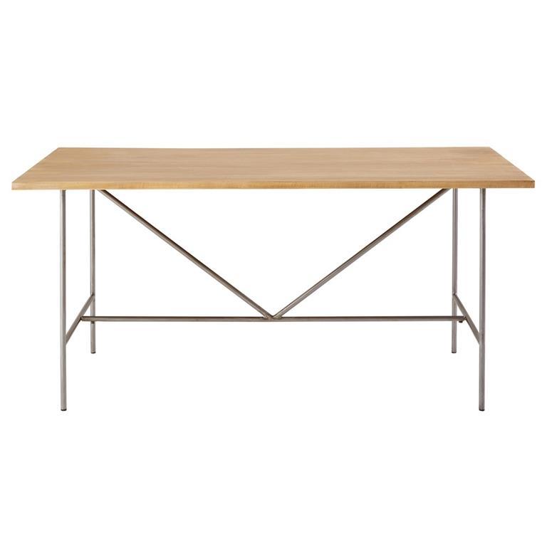 Table à manger 6/8 personnes en manguier massif et métal gris L160 Verde