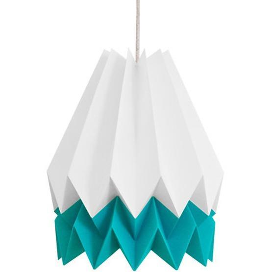 Abat-jour blanc et bleu caraïbes en papier - Orikomi