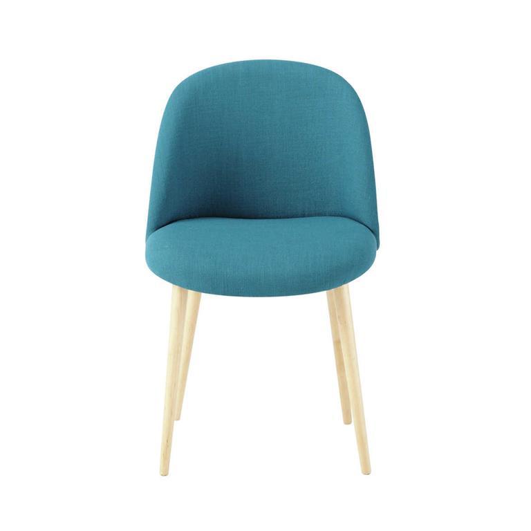 Chaise vintage bleu pétrole et bouleau massif Mauricette