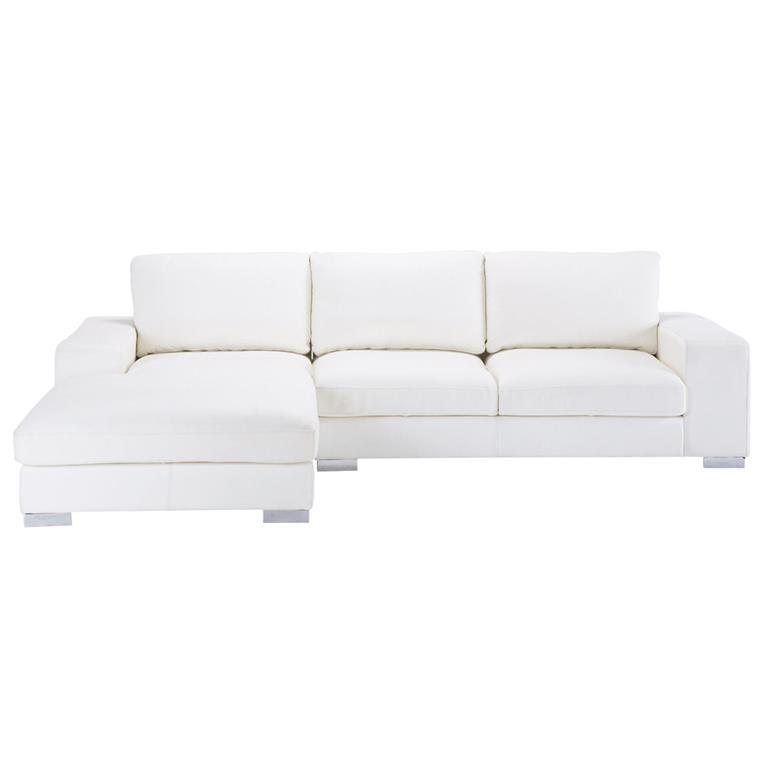 Canapé d'angle 5 places en cuir blanc New York