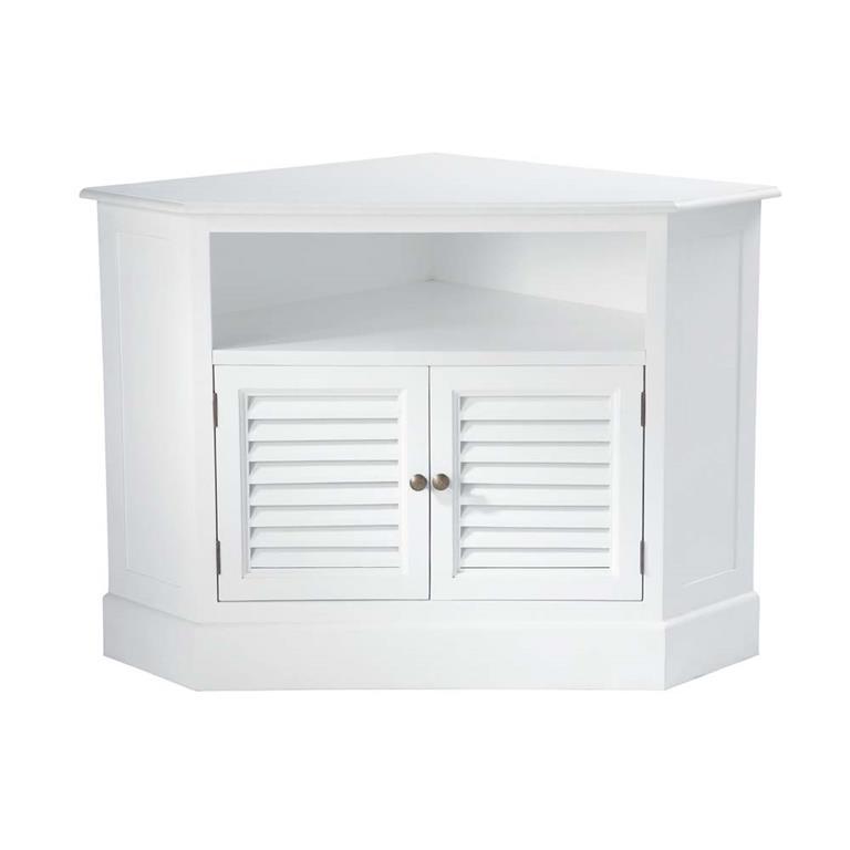 meuble tv d angle en bois blanc l 75 cm