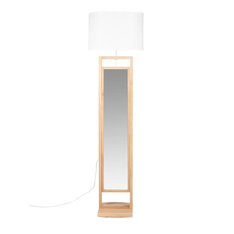 Lampadaire miroir psyché en chêne abat-jour blanc