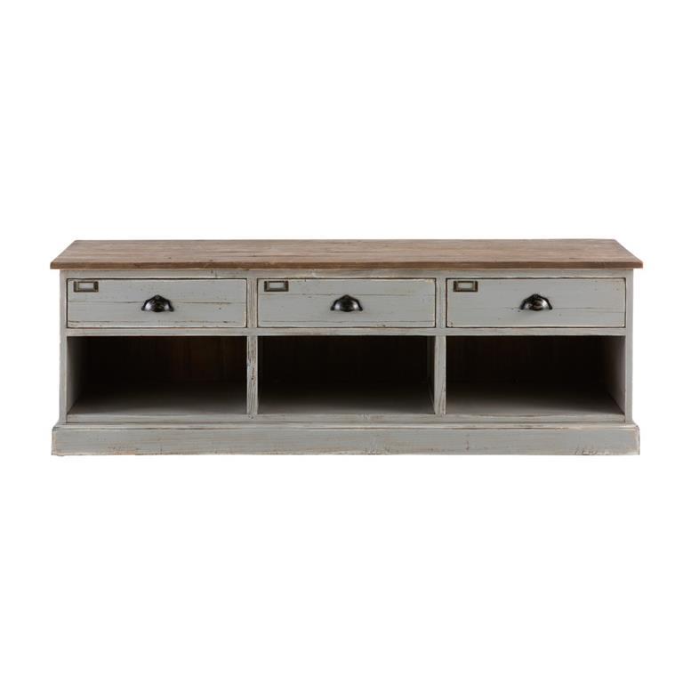 Meuble TV 3 tiroirs en sapin recyclé gris Ernest