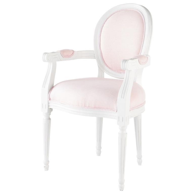 Fauteuil cabriolet en lin rose Louis Poésie
