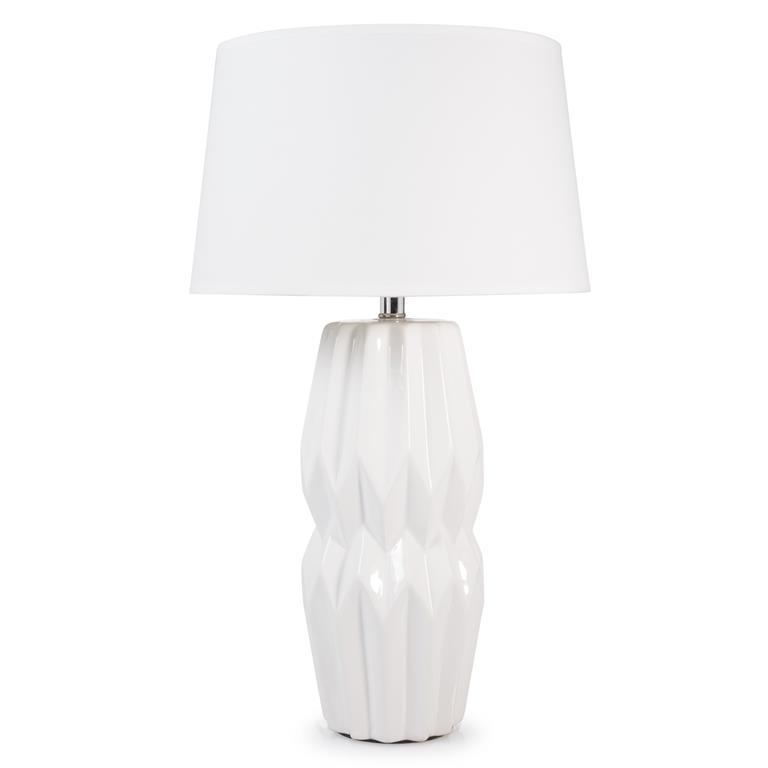 Lampe en céramique blanche et abat-jour blanc H 50 cm KYOTO