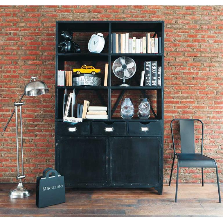 Chaise indus en métal noire Factory