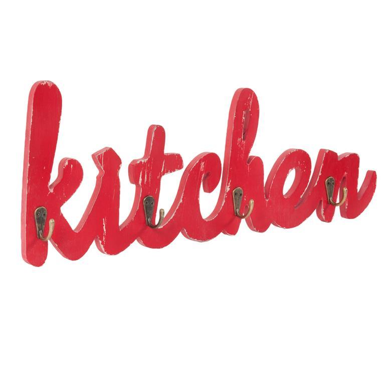 Patère 4 crochets en bois rouge KITCHEN FOOD