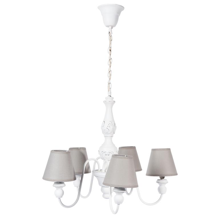 Lustre 5 branches blanc D 55 cm BOVARY