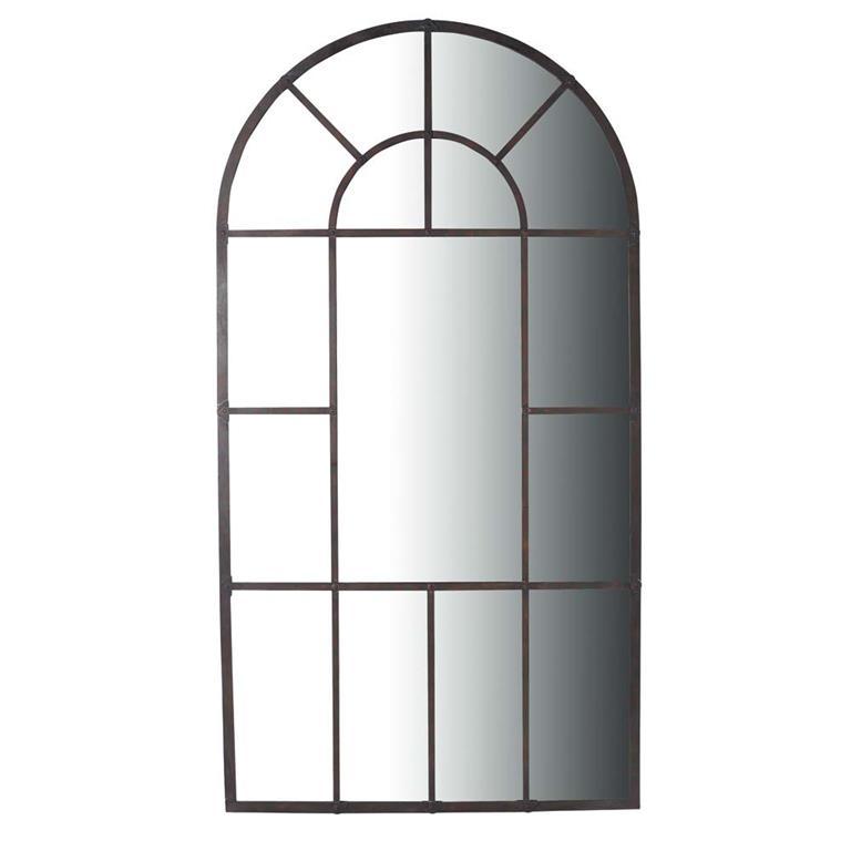 Miroir en m tal noir h 205 cm loire maisons du monde for Miroir fer noir