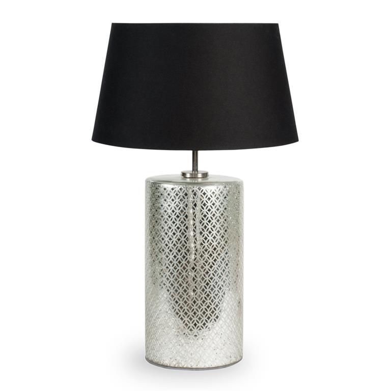 Lampe en métal et abat-jour en tissu noir H 64 cm SKANDIA