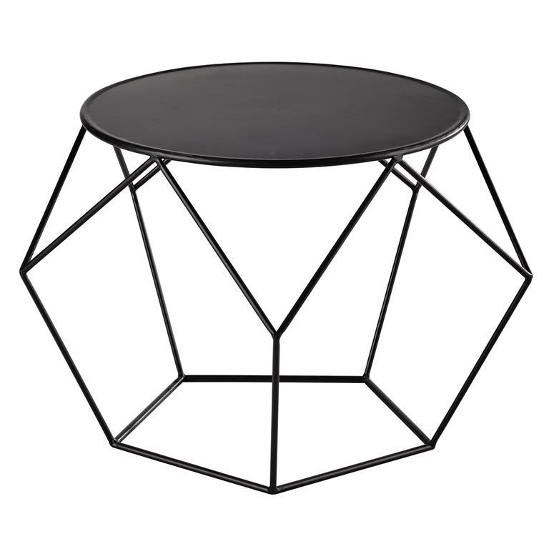 Table Basse Ronde En Metal Noir Prism Maisons Du Monde