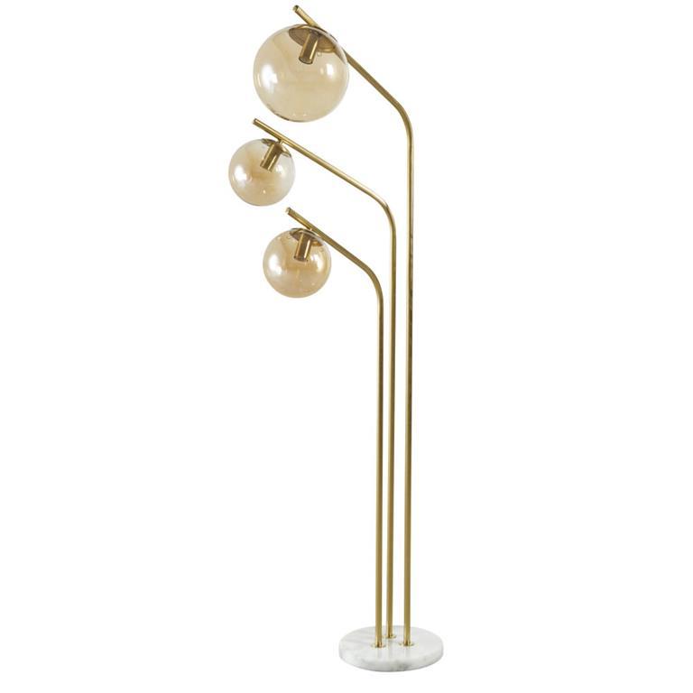 Lampadaire 3 globes en verre ambré et métal doré H150
