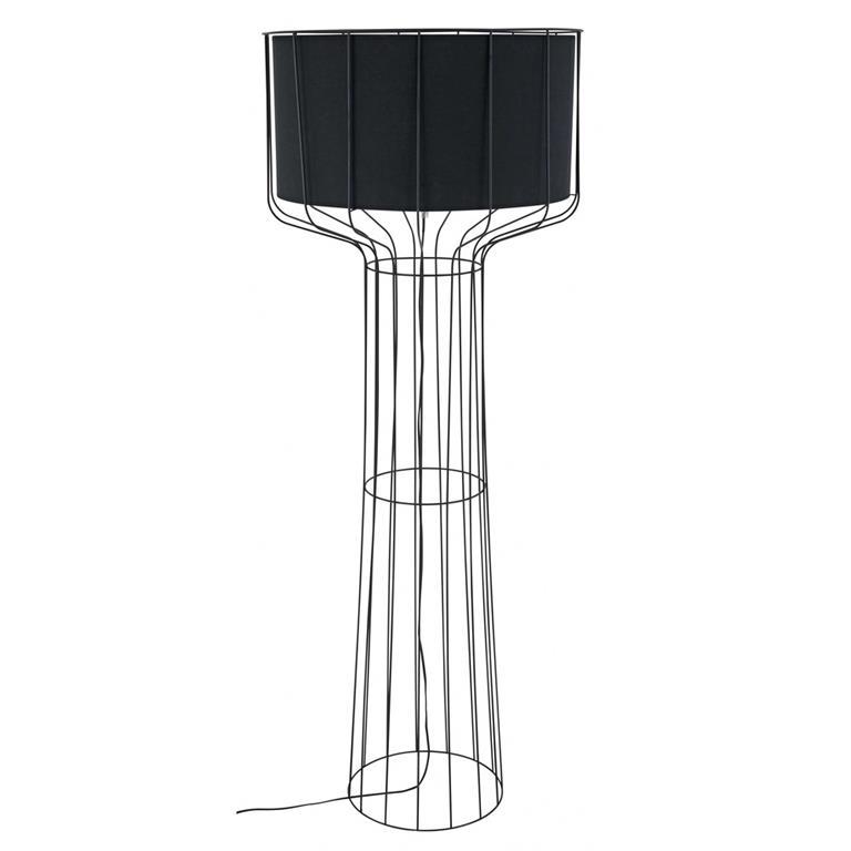 Lampadaire filaire en métal et coton noir
