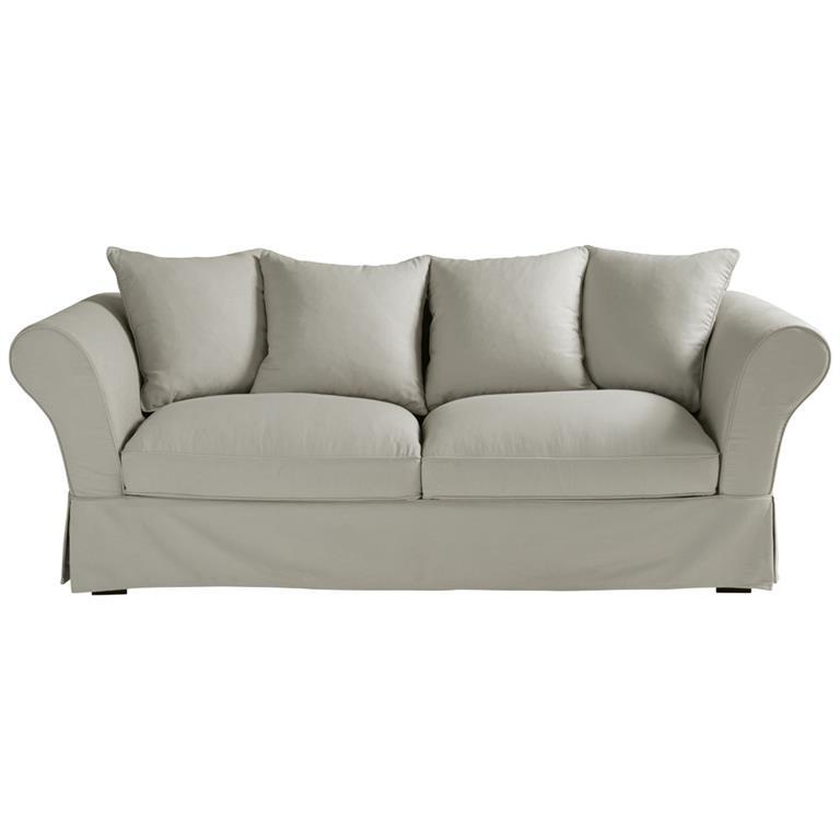 Canapé-lit 3/4 places en coton gris clair Roma