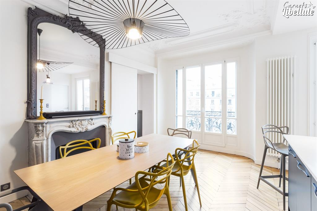 Salle manger appartement haussmannien carnets libellule - Decoration appartement haussmannien ...