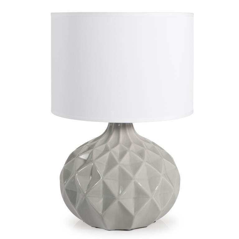 Lampe en céramique grise et abat-jourblanc H 44 cm THELMA