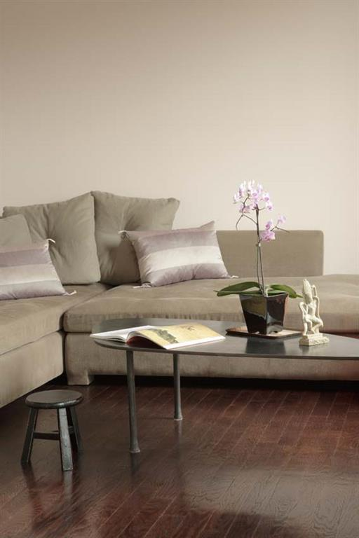 Camaïeu de rose pâle et gris dans ce salon moderne