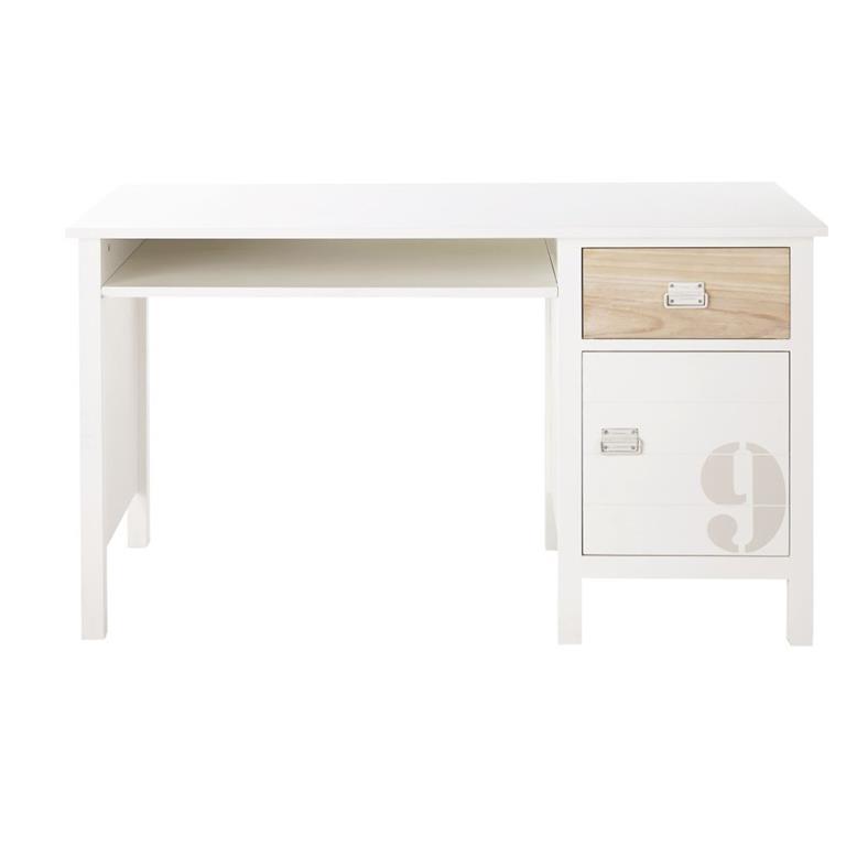 Bureau 1 tiroir 1 porte en pin blanc Marin