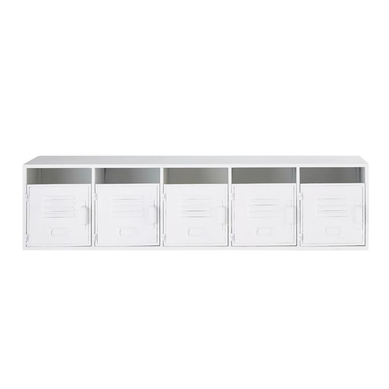 Étagère indus 5 casiers en métal blanc