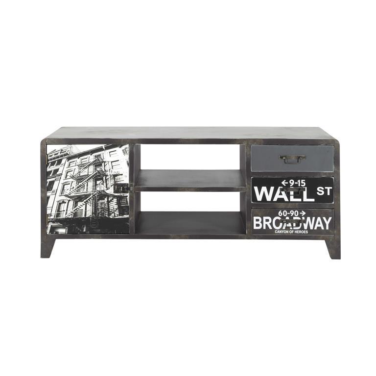 Meuble TV en bois effet métal noir L 120 cm Wall Street