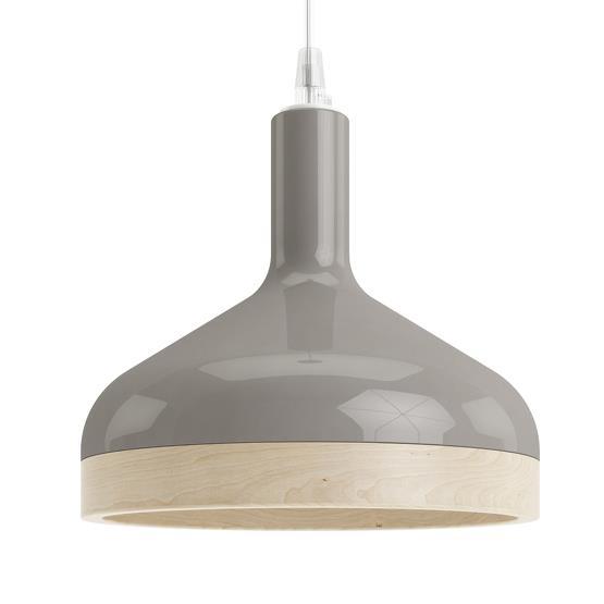 Suspension grise Plera en céramique et bois - Enrico Zanolla