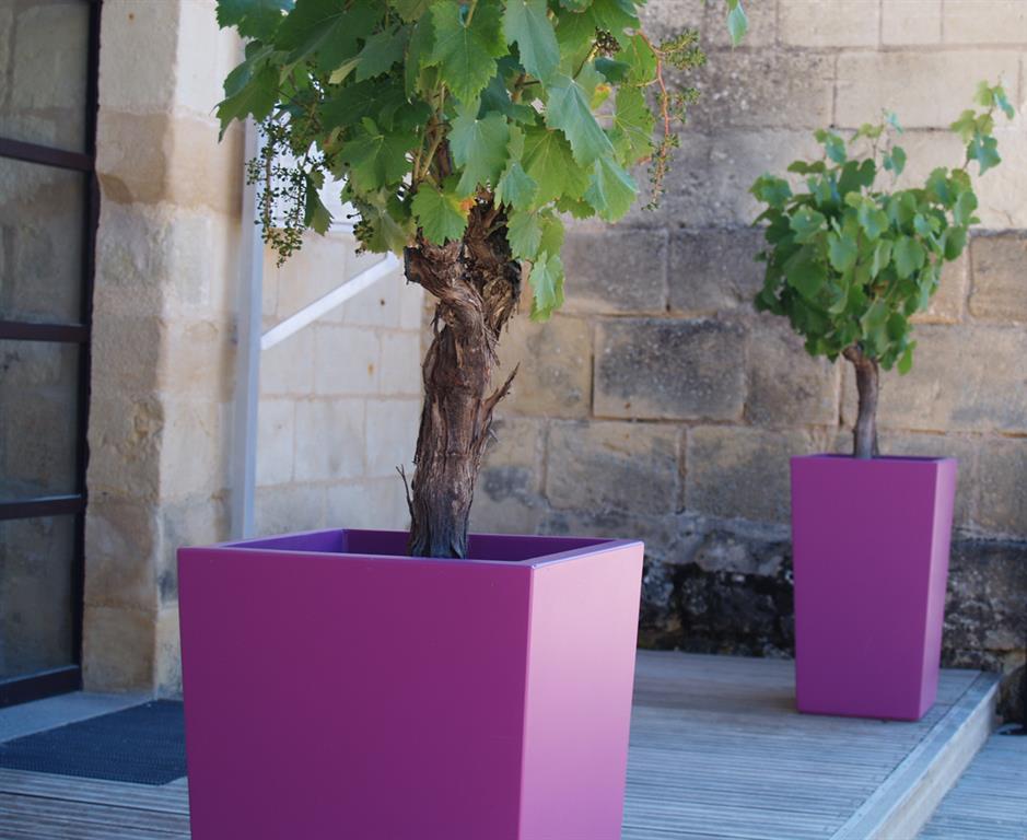Terrasse avec jardinières hautes violettes
