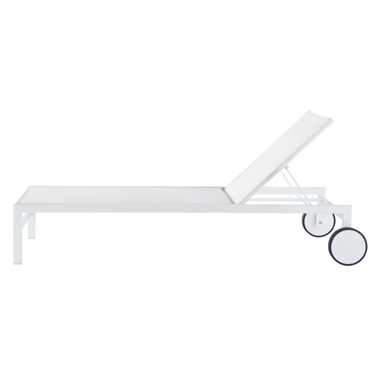Bain de soleil à roulettes en aluminium blanc L 203 cm Antalya