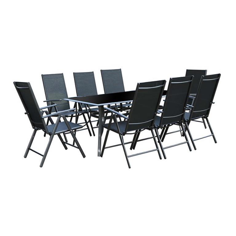 Table de jardin et 8 chaises en aluminium