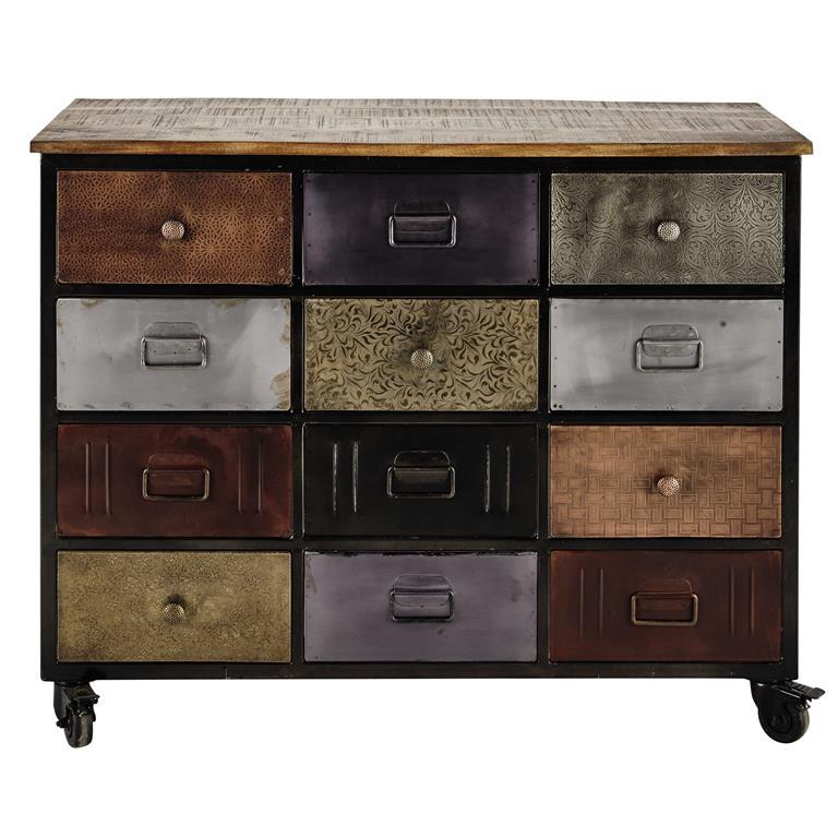cabinet de rangement roulettes en m tal noir l 109 cm impala. Black Bedroom Furniture Sets. Home Design Ideas