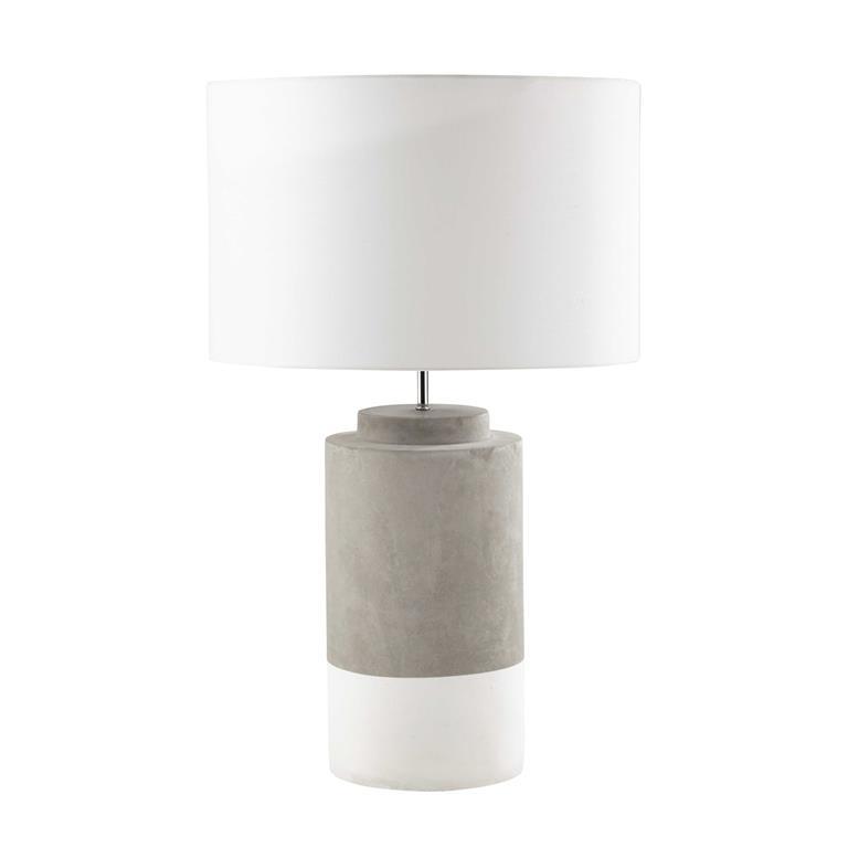 Lampe en ciment et abat-jour en tissu blanc H 71 cm SILLAGE