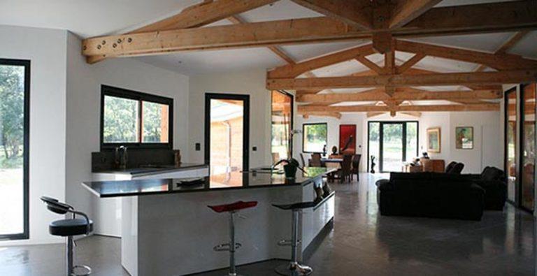 Espace cuisine salle manger salon avec charpente en bois apparente - Cuisine et salon moderne ...