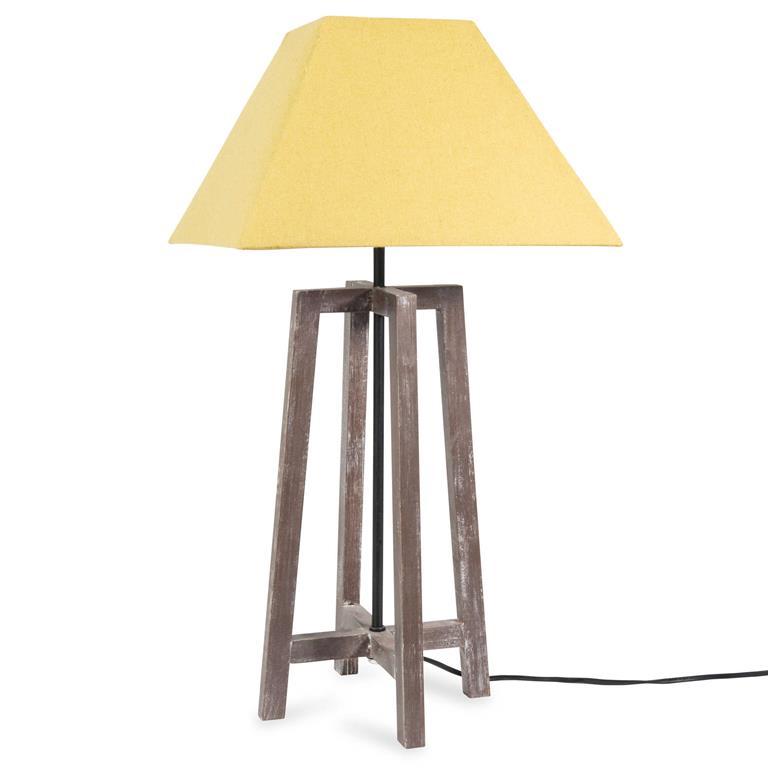 Lampe en bois et tissu vert H 60 cm URBAN SQUARE