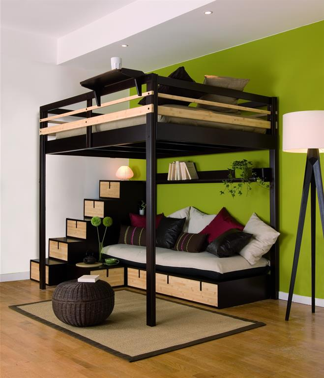 lit mezzanine adulte avec coin salon et rangements int gr s. Black Bedroom Furniture Sets. Home Design Ideas