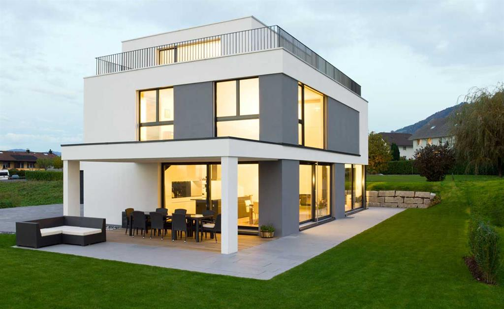 Maison contemporaine grise et blanche marty h user - Jardin de maison design ...
