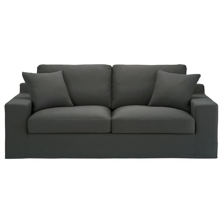 Canapé-lit 3 places en coton gris ardoise Stuart