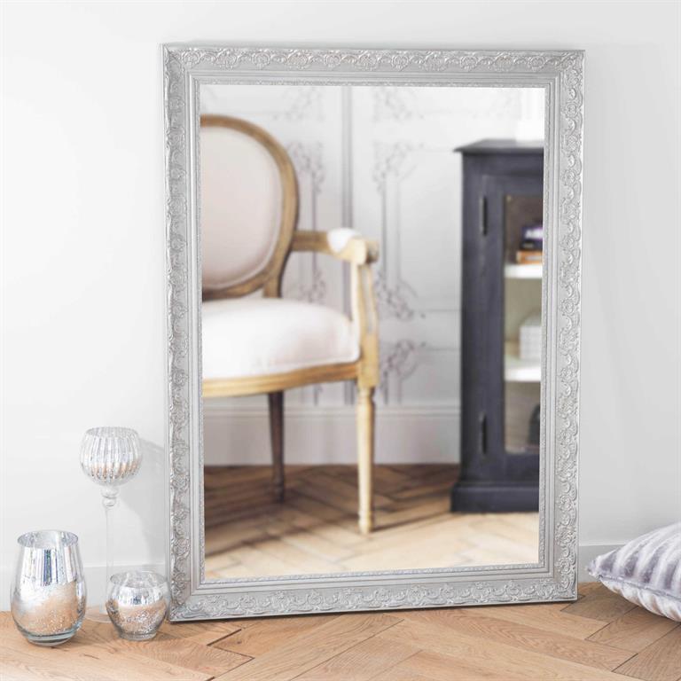 Miroir en paulownia argenté 90x120