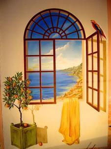 Peinture d corative for Fenetre ouverte sur paysage