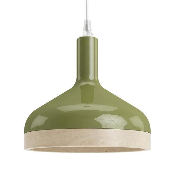 Suspension verte Plera en céramique et bois - Enrico Zanolla