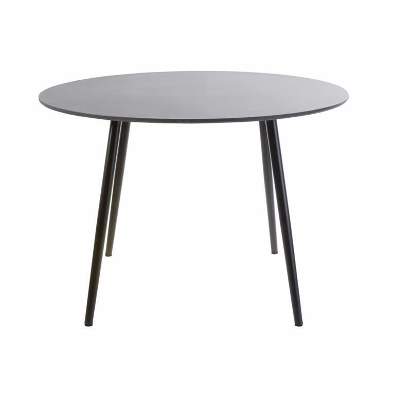 Table de jardin ronde en béton gris anthracite 5 personnes D110 Nouba