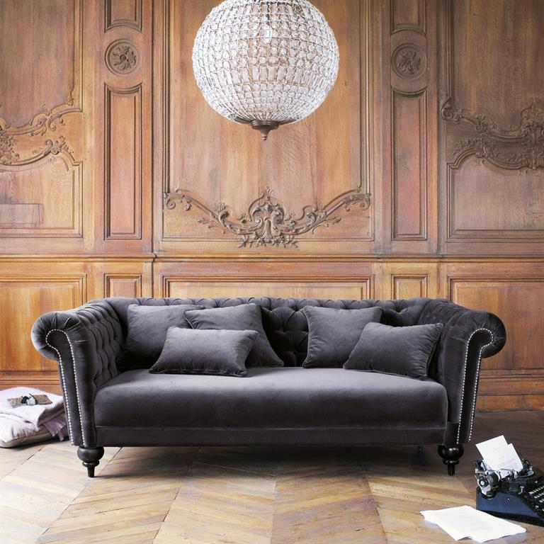 Canapé 3 Places Pour Decoration Du Sejour Canape 3 Places En Velours Gris Carmen Maisons Du Monde