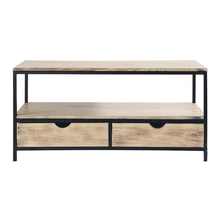 meuble tv indus en sapin massif et m tal long island. Black Bedroom Furniture Sets. Home Design Ideas