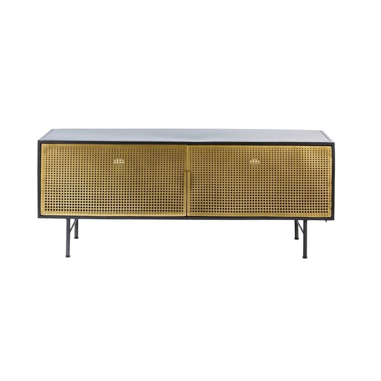 Meuble TV 2 portes en métal noir et doré
