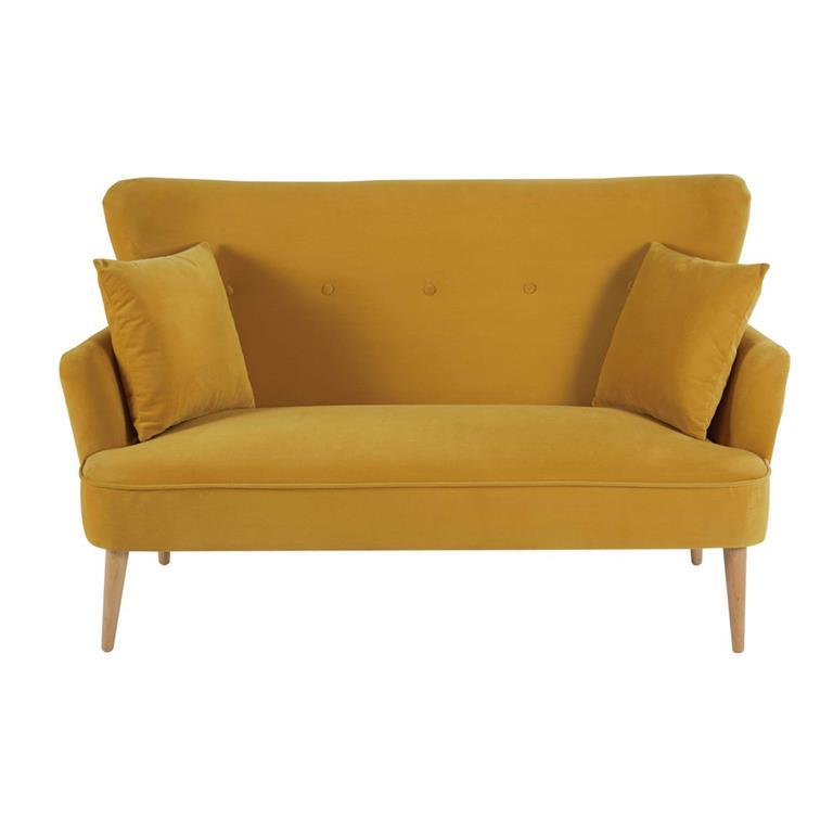 Canapé 2 places en velours jaune moutarde Leon Maisons du monde