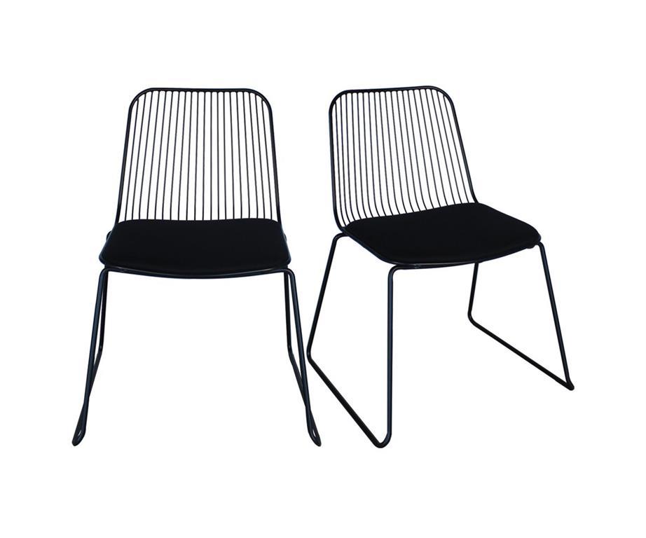 Lot de 2 chaises métal avec coussin Noir