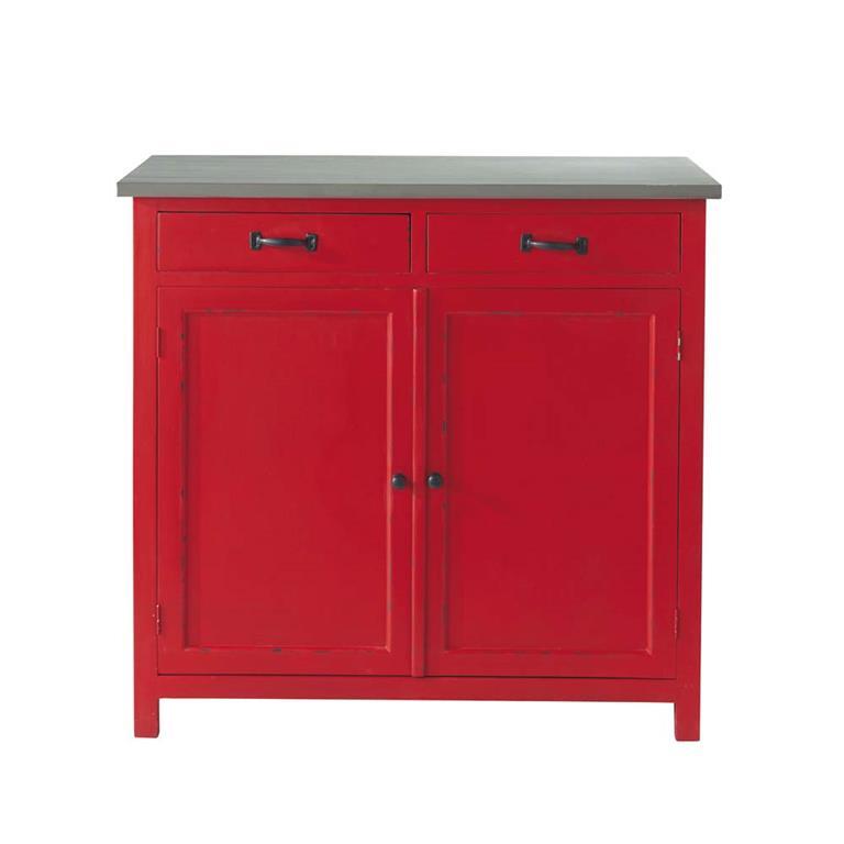 Buffet en bois rouge L 90 cm Cerise