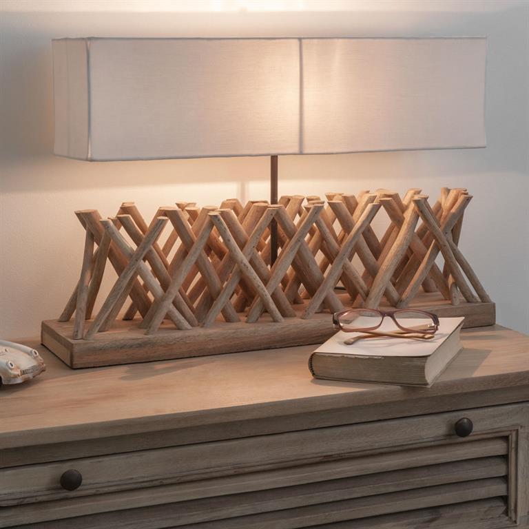Lampe en bois flotté et abat-jour en tissu H 16 cm FJORD