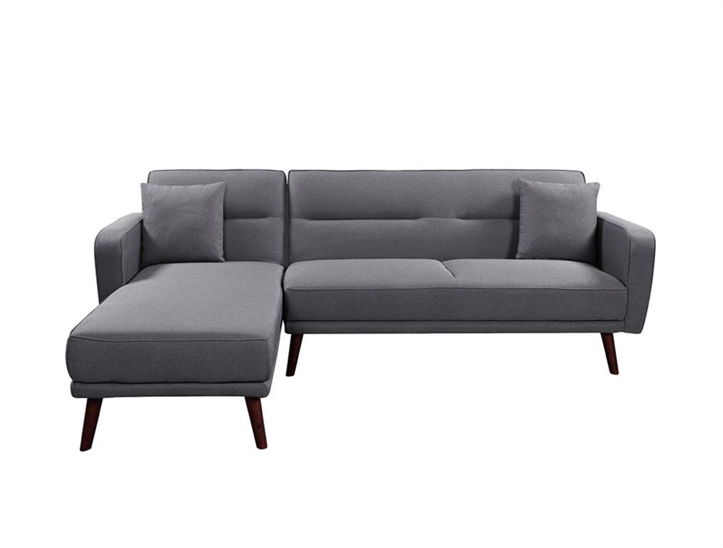 Canapé d'angle scandinave réversible convertible en tissu gris foncé