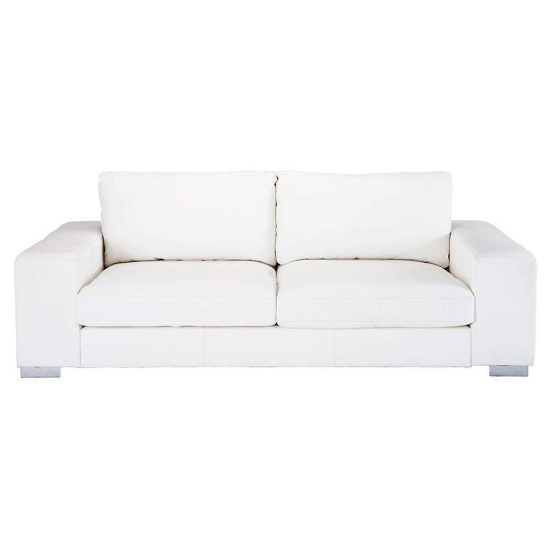 Canapé 3/4 places en cuir blanc New York