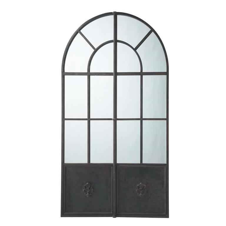 Miroir en m tal noir h 211 cm maine maisons du monde for Miroir grande demeure