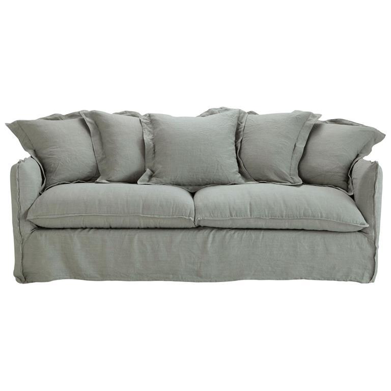 Canapé-lit 3/4 places en lin lavé gris clair Barcelone
